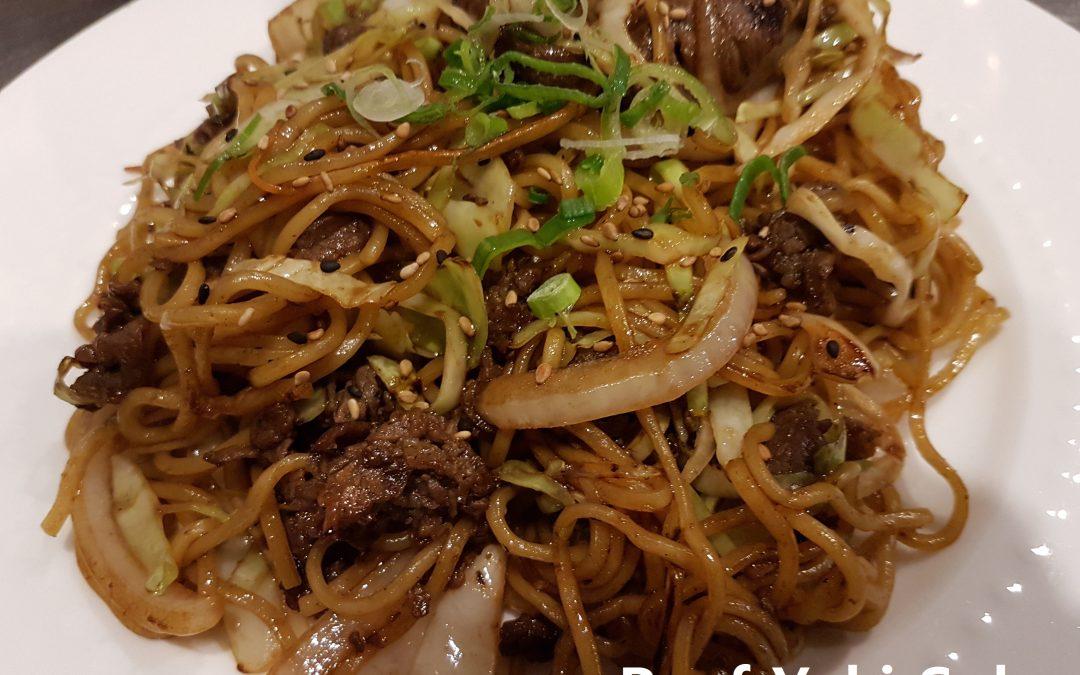 Beef Stir-Fried (Yaki) Soba